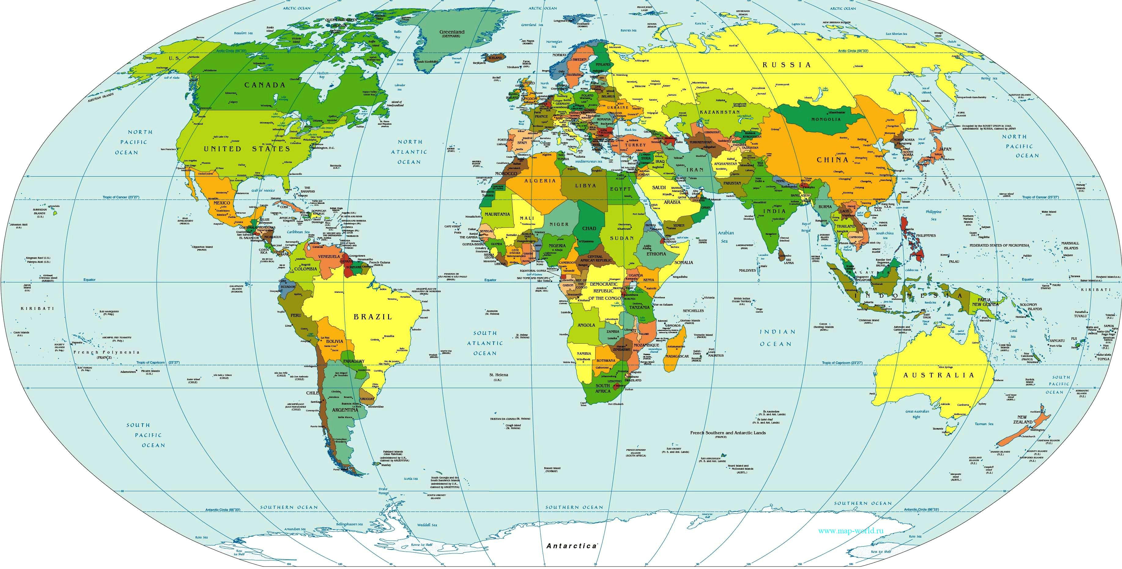 Размер политической карты мира